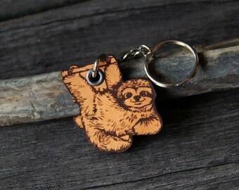 Baby Sloth - genuine leather keychain