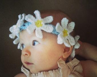 Crochet Flower Headband, Flower Crown, Daisy Crown, Baby Girl Headband, Custom Made