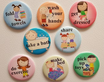 "Kids Chore Magnets - 1"" and 2.25""  Magnets - Large Easy to Read Magnets - Chores - Kids - Refrigerator Magnets"