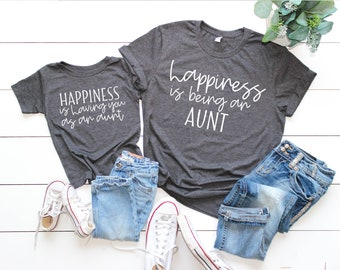 05d4c921657 Aunt and niece matching shirts, happiness is being your aunt shirt, niece  and auntie shirt, matching auntie niece shirt, aunt niece t-shirt