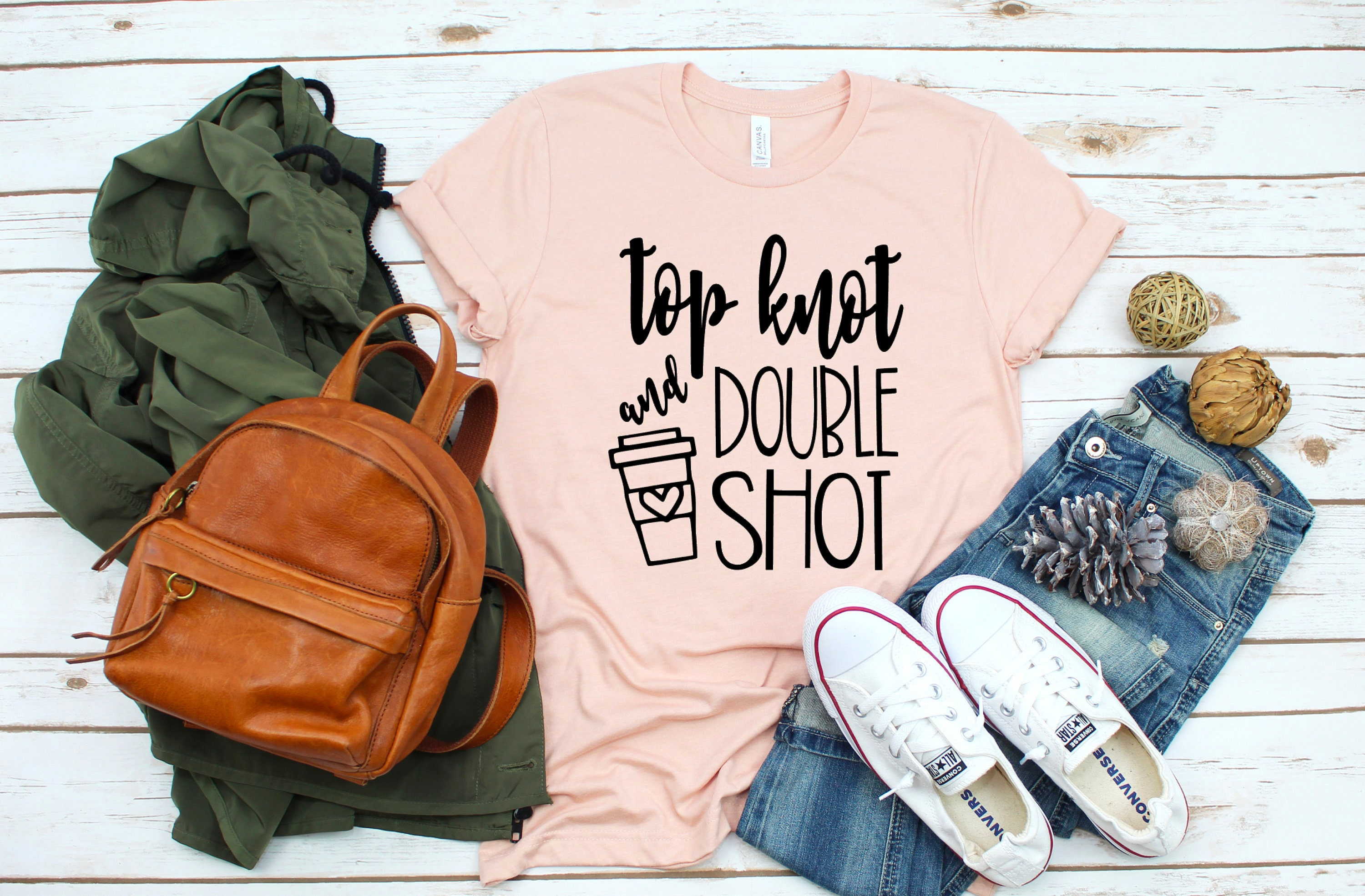 Top Knot And Double Shot Shirt Coffee Shirt Coffee T Shirt Etsy