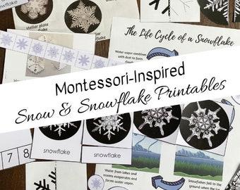 Montessori-Inspired Snow and Snowflakes Bundle -- Wilson Bentley's Snowflake Pack + Snow & Snowflakes Pack