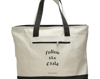 Montessori Quote Tote Bag -- Natural & Black