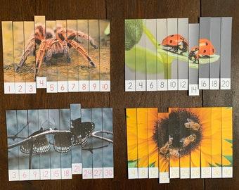 Montessori-Inspired Bug Skip Counting Puzzles Printable
