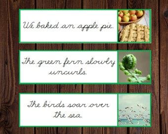 Printable Montessori Green Series Sentence Strips in Cursive
