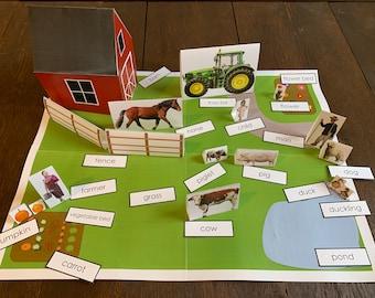 Printable Montessori Grammar Farm with Labels in Print