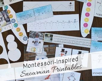 Montessori-Inspired Snowman Bundle Printable