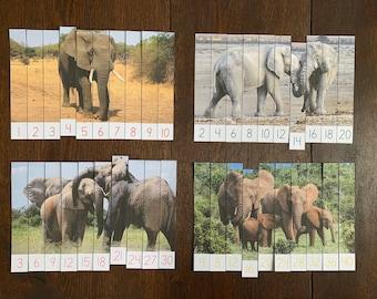 Montessori-Inspired Elephant Skip Counting Puzzles Printable