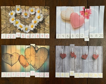 Montessori-Inspired Heart Skip Counting Puzzles Printable