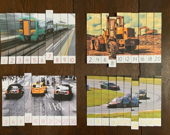 Montessori-Inspired Vehicle Skip Counting Puzzles Printable