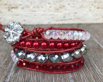 Leather Wrap Bracelet Holiday Red