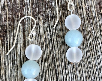 Aquamarine & Crystal Quartz Gemstone Sterling Silver Earrings
