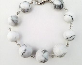 Floating in the Clouds Bracelet - cascading white howlite bracelet, 14mm and 12mm howlite bead bracelet, howlite statement bracelet