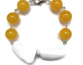 Walking on Sunshine Bracelet - 8.5 inch bracelet, 14mm yellow jade bracelet, candy jade bracelet, white faceted agate stone, agate stone