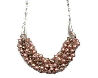 A Little Bubbly Necklace - pearl cluster necklace, glass czech pearls, champagne cognac and pink necklace, statement necklace,