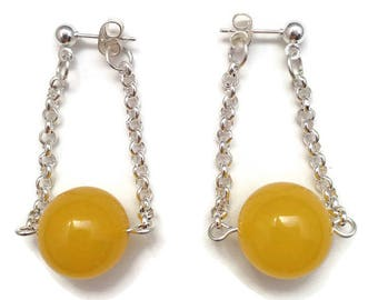 Walking on Sunshine Earrings - 14mm yellow jade earrings, silver plated and jade, candy jade beads, candy jade earrings, ball and post