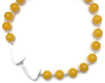 Walking on Sunshine Necklace - 14mm candy jade beads, white faceted agate beads, asymmetrical necklace, yellow jade beads
