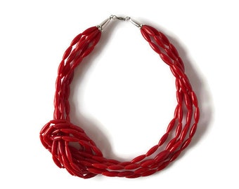 Knot The One Necklace - red statement necklace, tie the knot, red tube beads, 20 inch necklace, collar necklace, date night, girl's night