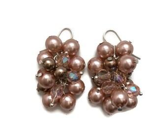 A Little Bubbly Earrings - Pearl cluster earrings, statement earrings, Czech glass pearls, hypoallergenic hook earrings, champagne cognac