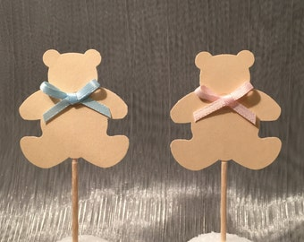 Teddy bear cupcake toppers - Set of 24