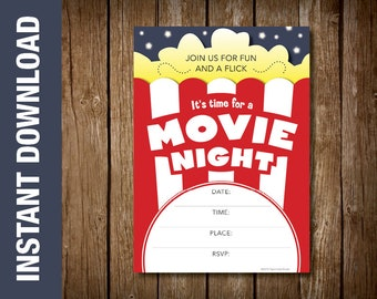 custom movie themed birthday party invitation movie theme etsy