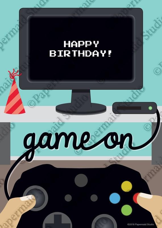 PRINTABLE Videogame Birthday Card Computer Theme