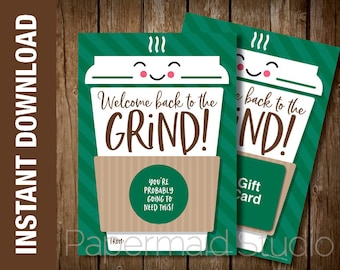 PRINTABLE Welcome back Coffee Gift Card Holder - Employee Staff Thank You Card - Back to Work Business