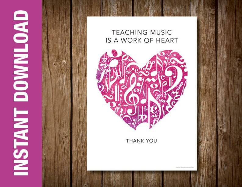 image about Teacher Valentine Printable identify PRINTABLE New music Instructor Valentines Working day Card -- Valentine Card for New music Trainer -- Tunes Be aware Center 5 x 7 Electronic Down load