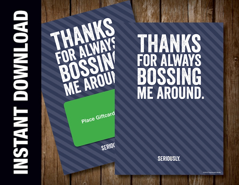 photo regarding Bosses Day Cards Printable identified as PRINTABLE Bosss Working day Card - Manager Birthday Card - Amusing Card for Manager - Owing for Usually Bossing Me In close proximity to - Amusing Manager Card - Greeting Card