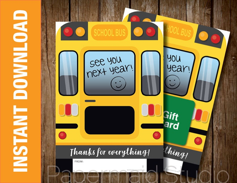 image relating to Bus Driver Thank You Card Printable identified as PRINTABLE Bus Driver Thank By yourself Card - Printable Bus Driver Reward Card Holder - Bus Driver Appreciation - University Bus Card - Close of 12 months Bus