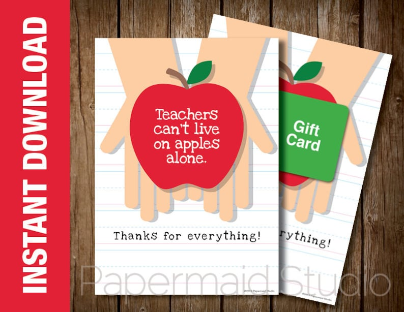 photo about Apples to Apples Cards Printable titled Instructor Thank Oneself Card PRINTABLE - Trainer Appreciation Card - Instructor Appreciation 7 days Card - Conclude of 12 months Trainer Card Educator Thank On your own