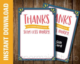 PRINTABLE Thank You Gift Card Holder - Boss's Day card - Employee Thank You Staff Appreciation Card - Administrative Professionals Day Card