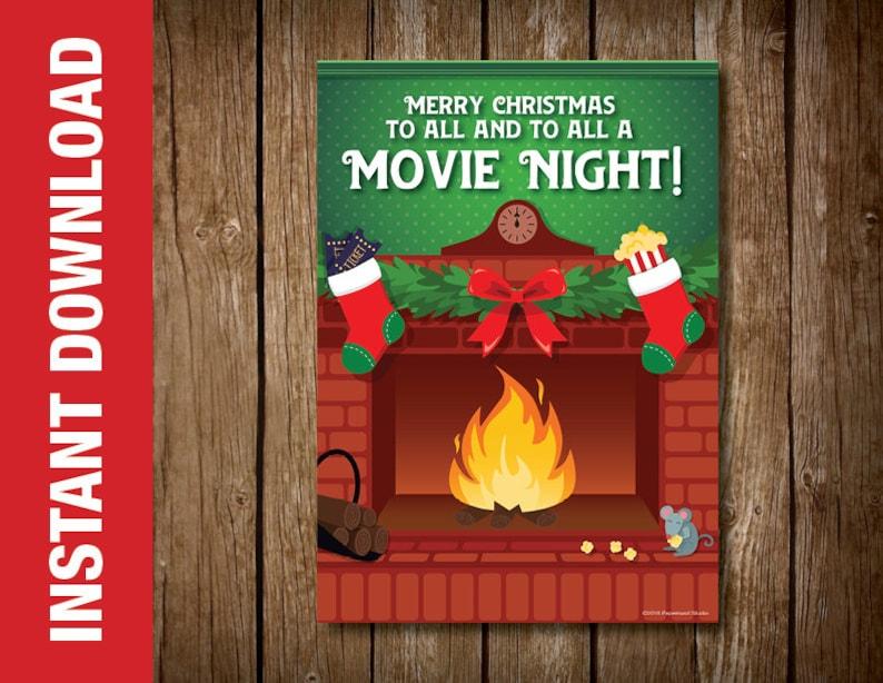 Frohe Weihnachten Film.Druckbare Film Nacht Ferien Karte Weihnachten Geschenk Kartenhalter Frohe Weihnachten An Alle Und Ein Film Nacht