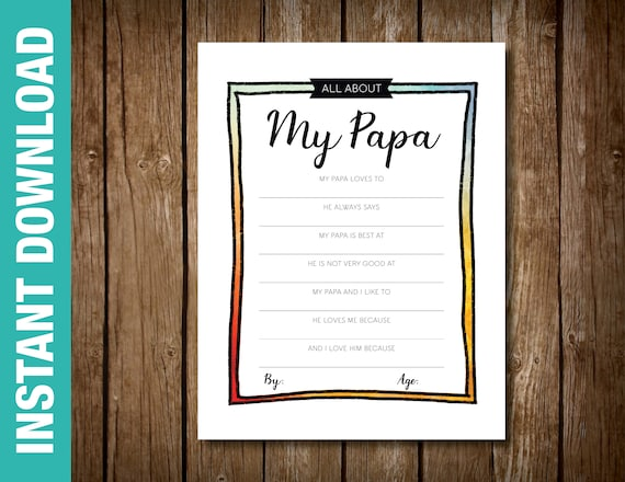 photo about All About My Papa Printable named PRINTABLE Papa Watercolor Fill inside of the Blank Envision Grandpa Birthday reward -- All over My Papa -- Electronic Obtain