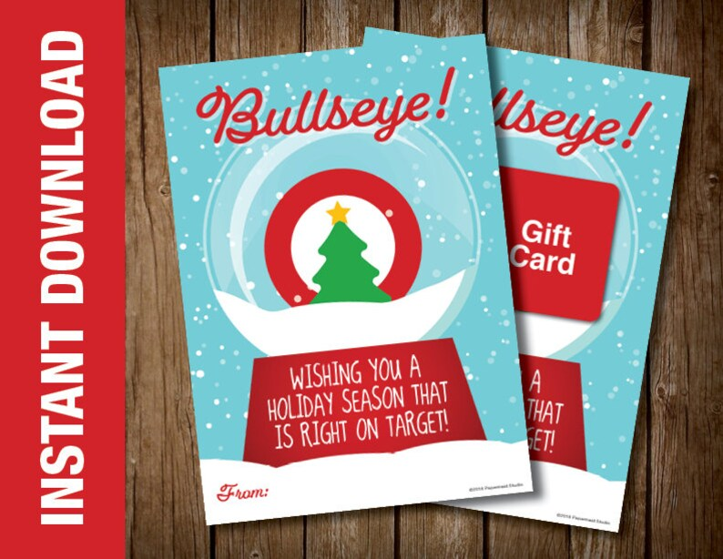 graphic relating to Printable Bullseye known as PRINTABLE Bullseye Xmas Card -- Holiday vacation Card -- Retail Present Card Holder - Wishing your self a vacation year that is instantly upon concentration