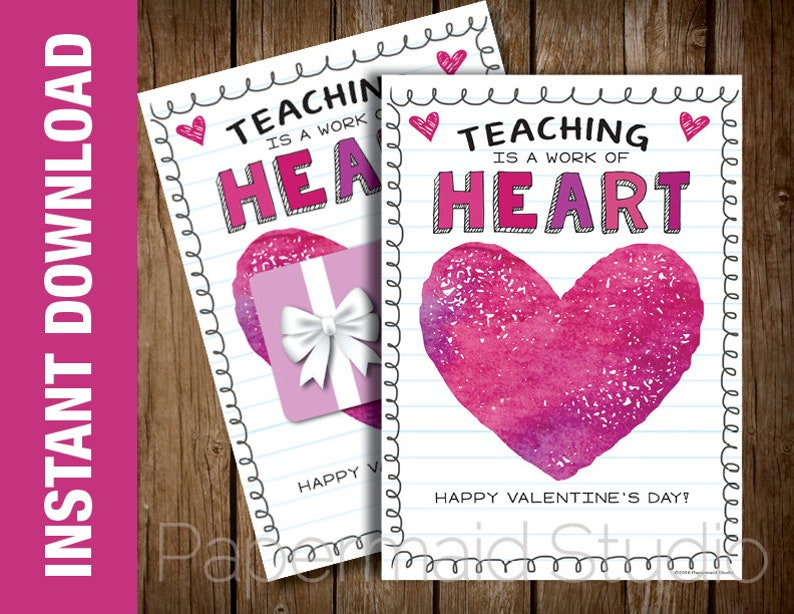 graphic regarding Teacher Valentine Printable named PRINTABLE Trainer Valentines Working day Card -- Valentine card for Trainer - Coaching is a Get the job done of Centre - 5 x 7 Electronic Obtain