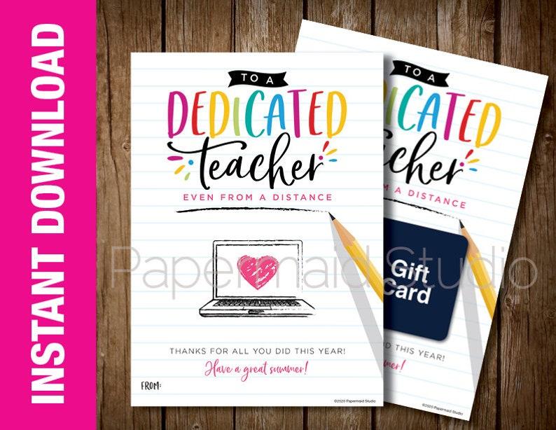 virtual teacher thank you gift card holder printable  etsy