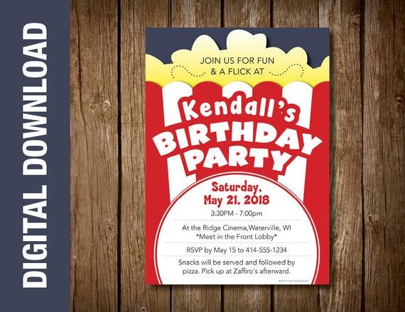 Custom Movie Themed Birthday Party Invitation Theme