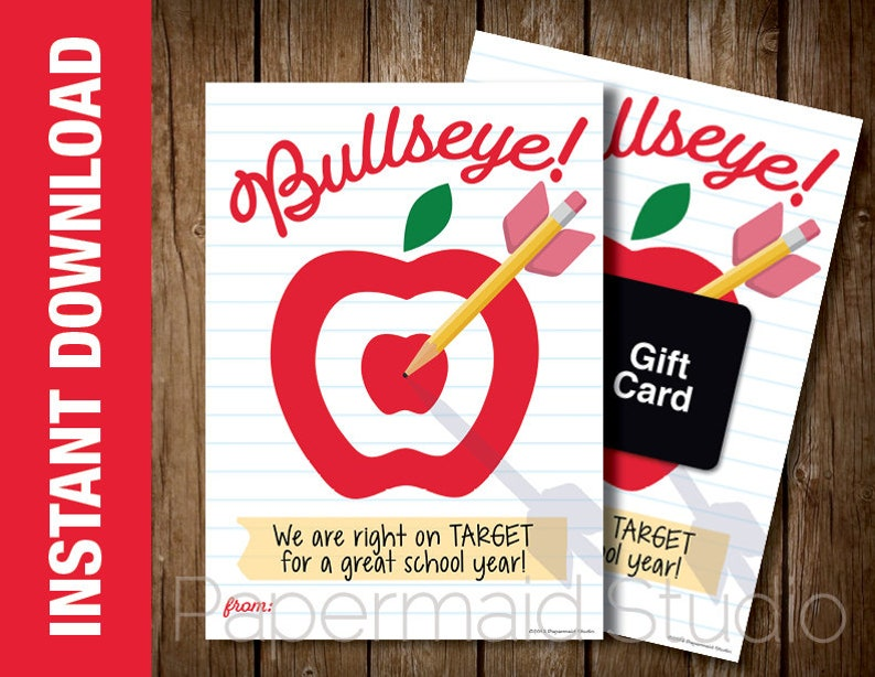 photograph regarding Printable Bullseye identify PRINTABLE Again in direction of Faculty Instructor Card - Apple Bullseye Focus Reward Card Holder- Very first Working day of University Trainer Card - Instructor Thank Yourself Card