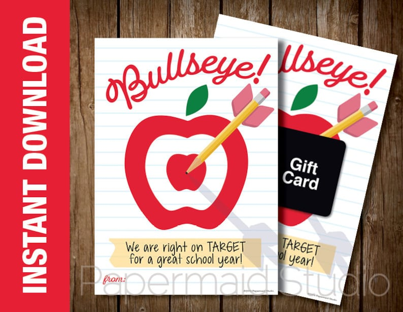 graphic relating to Printable Bullseye named PRINTABLE Back again in the direction of College or university Instructor Card - Apple Bullseye Concentration Present Card Holder- Very first Working day of College Instructor Card - Trainer Thank On your own Card