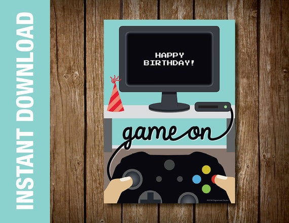 PRINTABLE Videogame Birthday Card Computer Theme