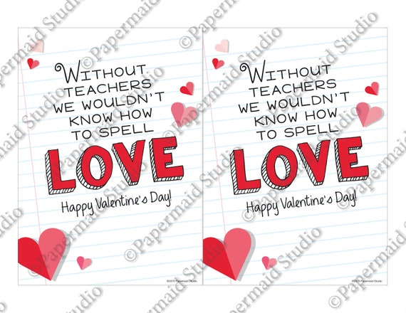 image relating to Printable Valentine Cards for Teacher known as PRINTABLE Trainer Valentine Card -- Valentines Working day card for Instructor - Devoid of Academics We Couldnt Spell Appreciate - 5x7