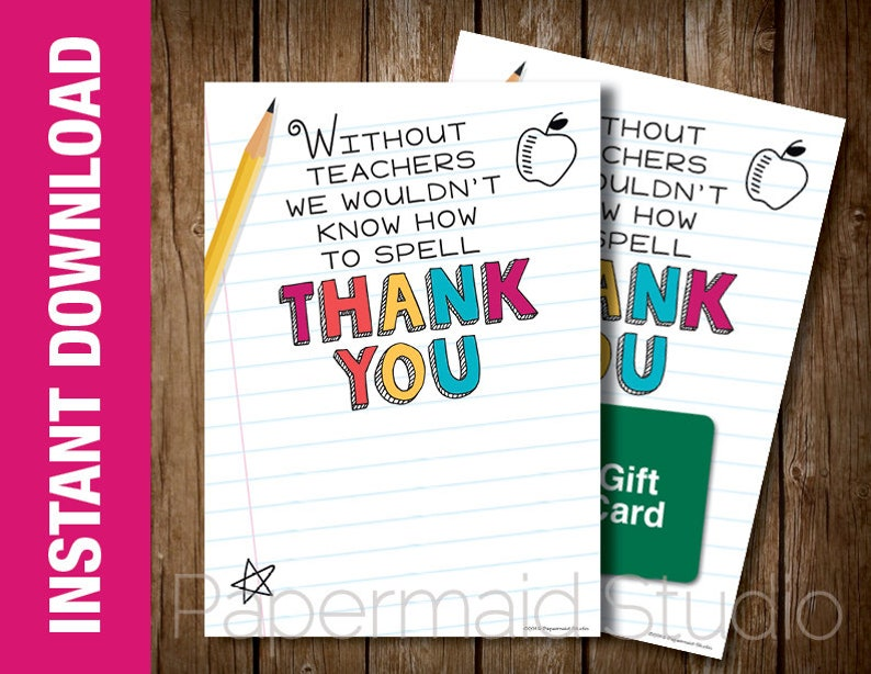 picture about Teacher Appreciation Card Printable named Instructor Appreciation 7 days Card - Printable Instructor Appreciation Card - Printable Trainer Thank On your own Card Conclude of Yr Trainer Reward Card Holder