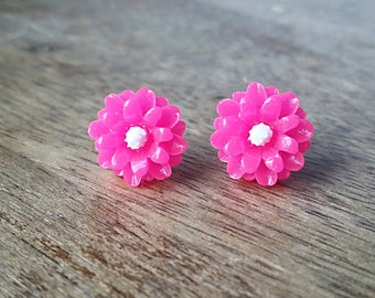 Pink Flower Stud Earrings, Hypoallergenic, Flower Earrings, Flower Stud Earrings, Pink Flower Earrings, Gifts for Teens, Post Earring
