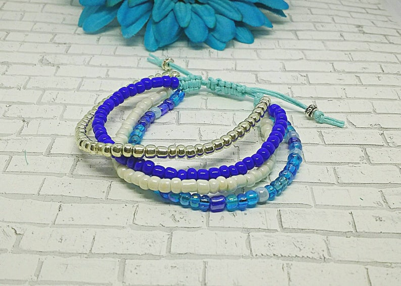 Macrame Bracelet Bracelet Beaded Bracelet Blue and Silver Bracelet Seed Bead Bracelet Blue Multi strand Bracelet Layered Bracelet