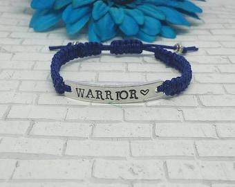 Warrior Bracelet, Warrior Macrame Bracelet, Warrior, Bracelet, Knotted, Braided, Macrame, Custom Bracelet, Adjustable, Cancer Bracelet