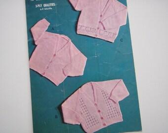 Vintage Baby Knitting Pattern Cardigans PDF Pattern