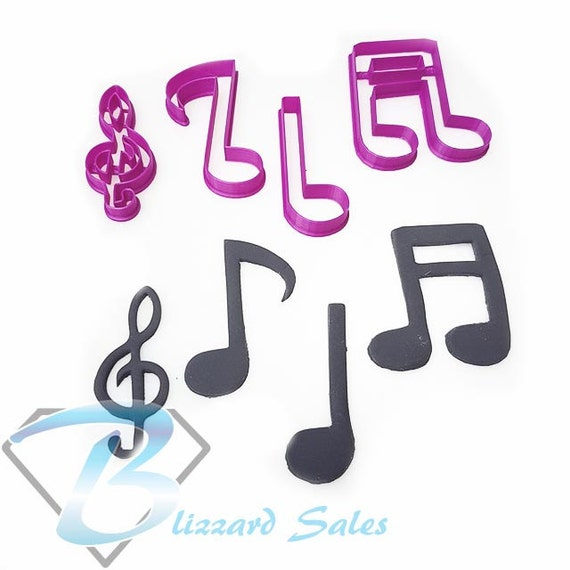 Set Of Music Notes Fondant Cookie Cutter Birthday Cake