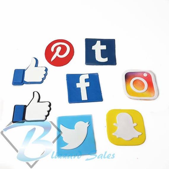 Social Media Logo Set of 7 Icons Fondant Cookie Cutter 5cm 7cm 10cm Cake