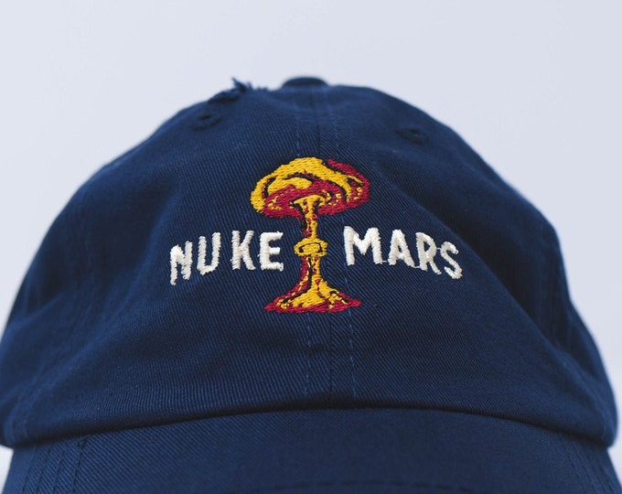 Featured listing image: Nuke Mars retro dad hat  (+ free shop sticker)